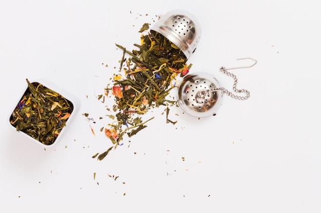 Чайные листья и инструменты