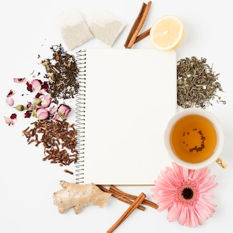 Tea leaves and notepad template