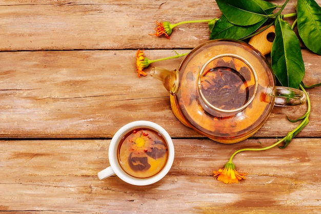 Tea made from fresh marigold flowers