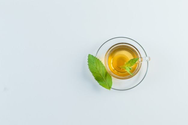 Tea in a mug with herbs flat lay on a white background