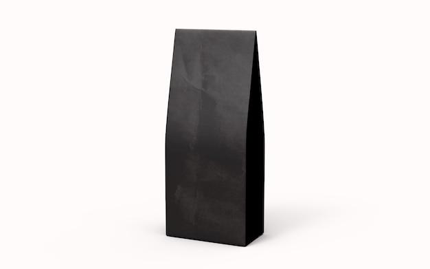 차 또는 커피 검은 종이 포장 가방 흰색 배경에 고립. 3d 렌더링.