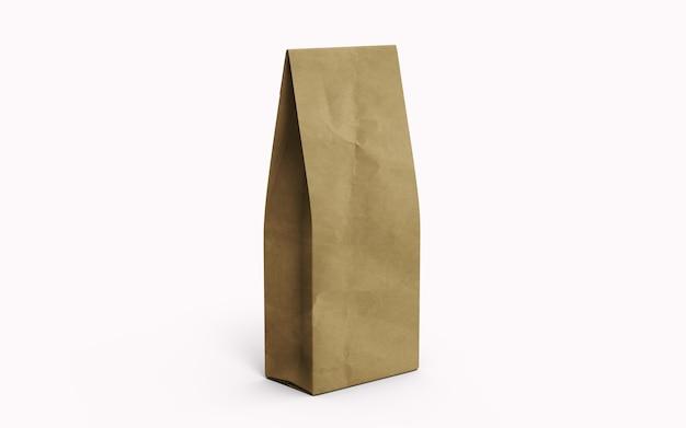 차 또는 커피 갈색 종이 포장 가방 흰색 배경에 고립. 3d 렌더링.