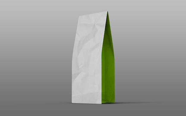흰색 배경에 고립 된 측면에 녹색 차 또는 커피 종이 포장 가방. 3d 렌더링.