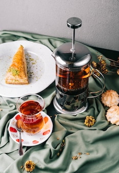 Tea served with slice of pie