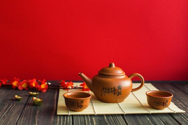 Tea set on bamboo napkin