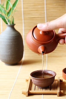 Tea set japanese and chinese bamboo mat table
