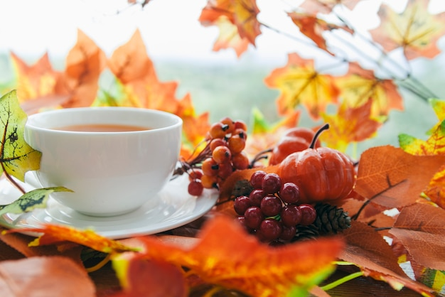 Tea set near autumnal leaves and berries