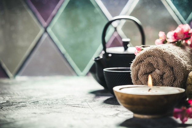 Tea and spa composition. natural cosmetics and wellness concept.