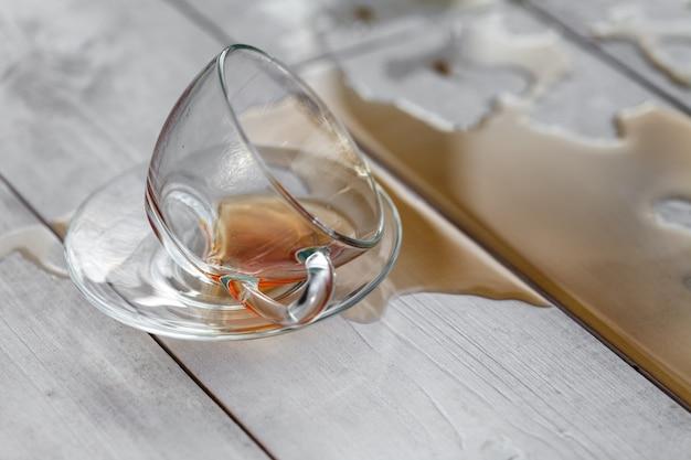 木製の壁に白いカップからお茶をこぼした