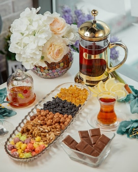 Tea table with kettle, glass of tea, nuts and sweets.