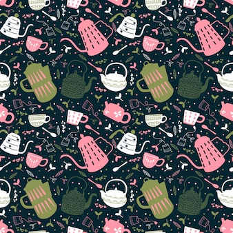 Tea time seamless pattern. tea party wrapping paper design. hand drawn doodle illustration with teapots