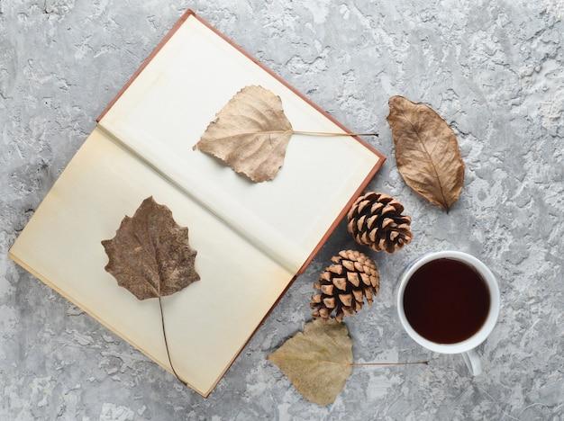 책을 읽을 때 차. 차, 책, 낙엽, 콘크리트 테이블에 충돌. 새로운 이야기를 읽는 가을 겨울 분위기. 말린 잎의 식물 표본 상자. 평면도. 평평하다.