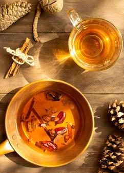 お茶の冬の飲み物とハーブ