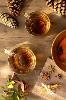 Tea winter drink and pine cones