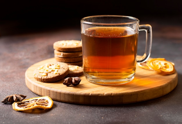 Tea winter drink with biscuits
