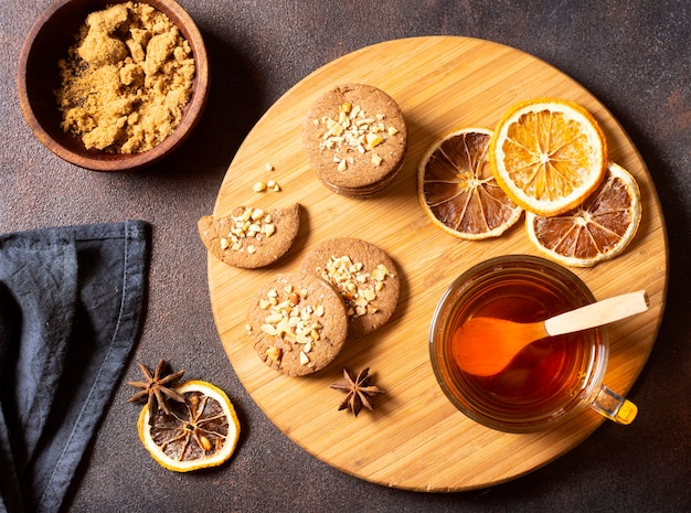 Tea winter drink with cookies and lemon