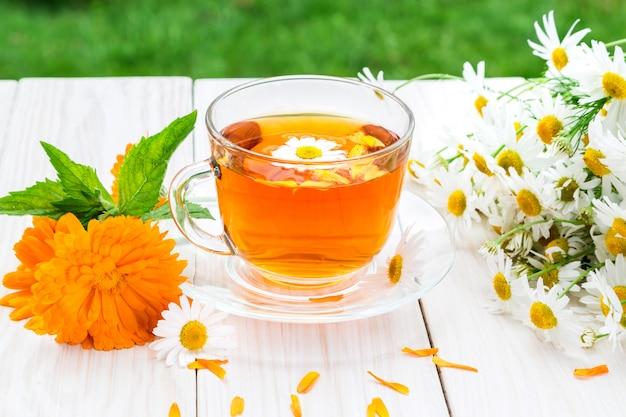 Tea with camomile and calendula.