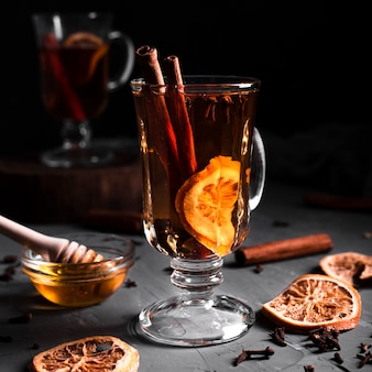 Tea with cinnamon and honey
