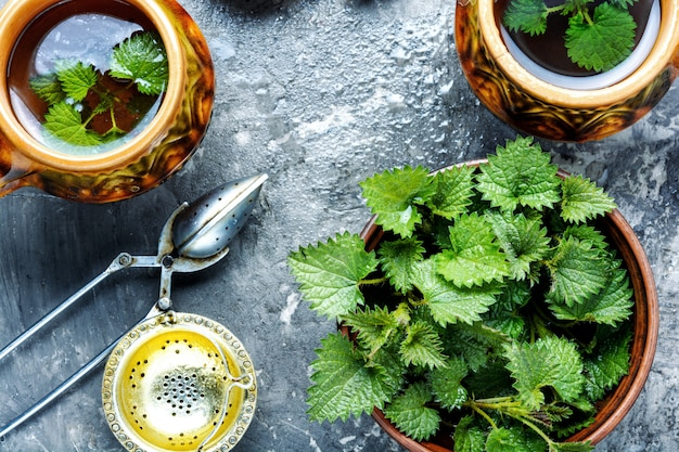 Tea with fresh nettles