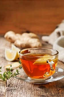 Tea with ginger and lemon