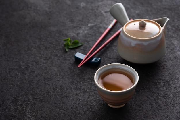 Tea with japan chopstick