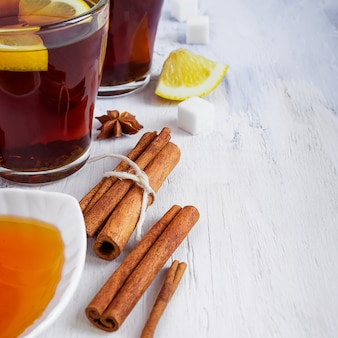 Tea with lemon, cinnamon, honey with space for text