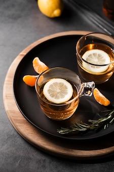 Tea with lemon set top view