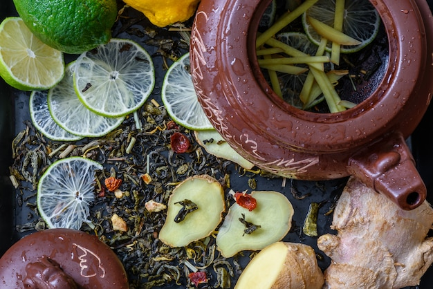 Tea with lime and ginger