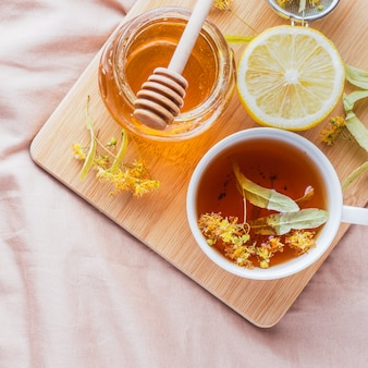 Tea with linden, honey and lemon.