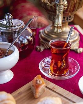Чай с пахлавой, вид сбоку