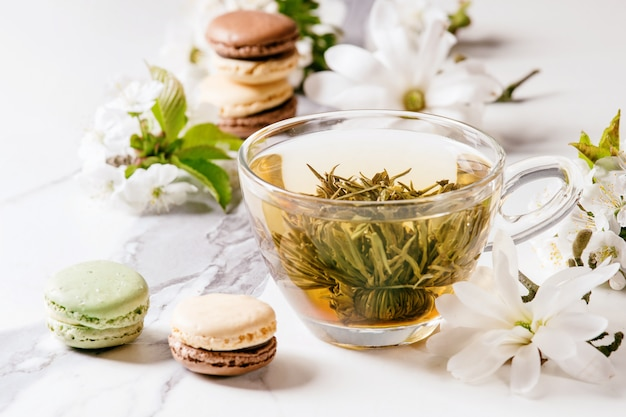 Tea with spring flowers