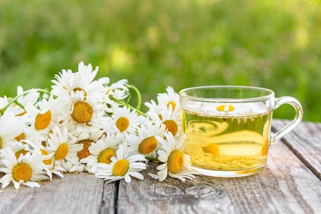 カモミールの花びらを加えたお茶。