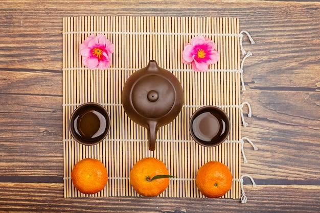 中国茶teaとみかんでフラットレイアウト