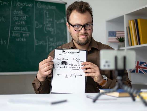 Teacher doing an english lesson online