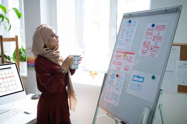 お茶を飲む先生。お茶を飲み、ホワイトボードの近くに立っているスカーフを身に着けているイスラム教徒の教師