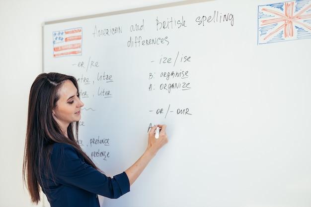 Учитель объясняет различия между американской и британской орфографией на доске английского языка.