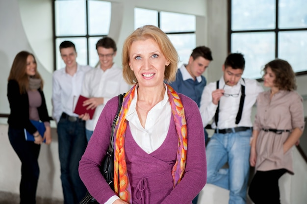 Teacher in front of students