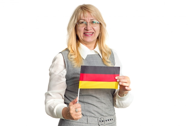 Teacher. happy mature woman with flag of germany