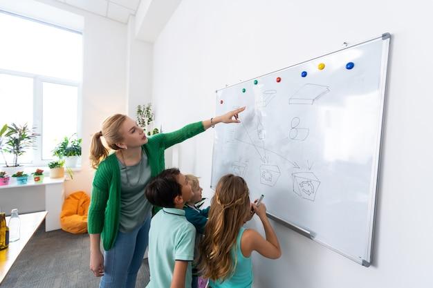 先生が話します。ホワイトボードの近くに立っている金髪の先生と生徒がゴミの分別について話している