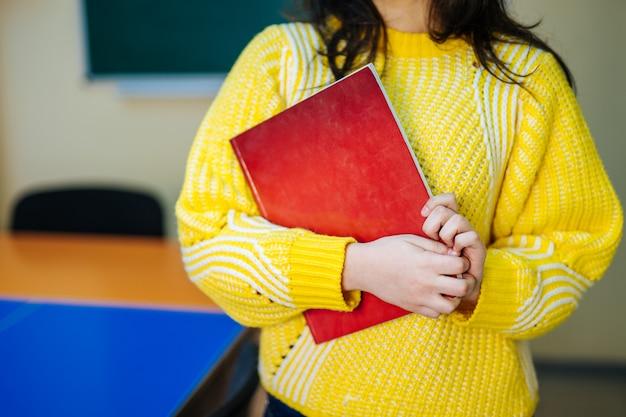 Teacher or student at the blackboard