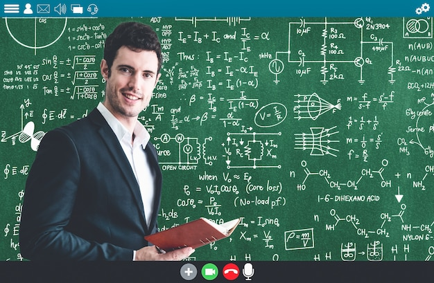 Teacher teach lesson on e-learning and online education app for remote student