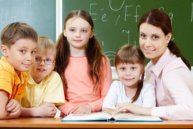 Teacher teaching reading