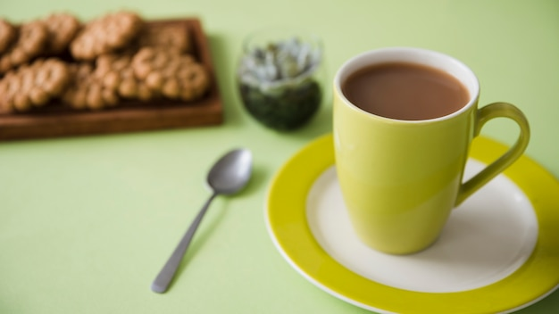 Teacup with biscuits
