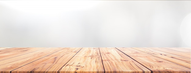 Teak wood table top on white background for wide banner background used us montage display