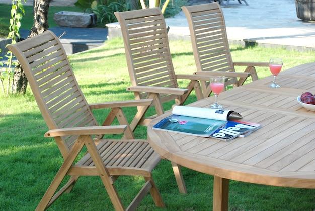 Teakwood garden furniture set outdoor closeup