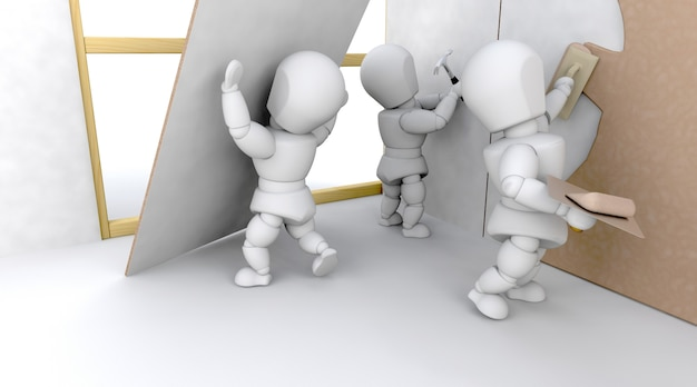 Team of 3d characters in a construction