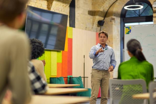 Тренинг по построению команды уверенный мужской бизнес-тренер или спикер, выступающий с речью стоя