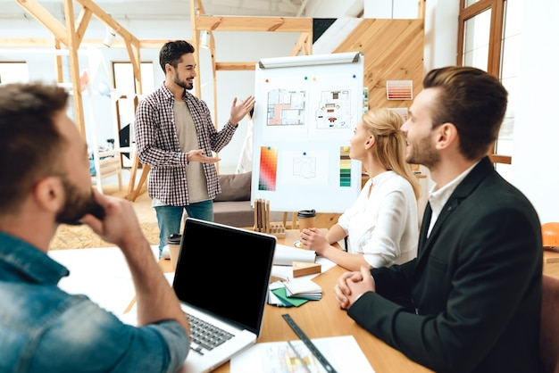 Team of designers architects watching presentation