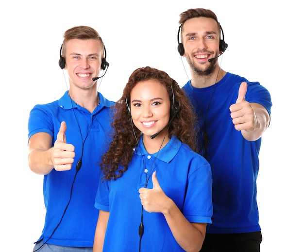 Team of friendly technical support dispatchers isolated