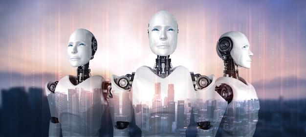 Командный робот-гуманоид ии, демонстрирующий концепцию совместной работы и сотрудничества